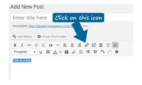 External Link How-To for WordPress Visual Editor 1
